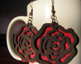 Leather and Wood Earrings Hand Cut Red Roses