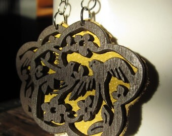 Leather and Wood Earrings Yellow Love Birds in Flowers