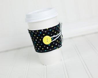 Reusable Coffee Sleeve Black Polka Dots, Fabric Coffee Cozy, Unisex Gender Neutral