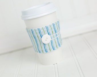 Coffee Sleeve Cozy Blue and Green Stripe Print Unisex Reusable Cup Cover