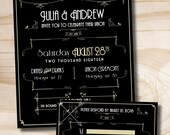 ART DECO GATSBY Wedding Invitation / Response Card / Rsvp - 100 Professionally Printed Invitations & Response Cards