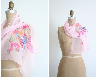 vintage 50s silk chiffon scarf / Chinese Pheonix - hand painted / 1940s - pale pink