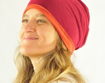 Slouchy Hat - Beanie -Reversible - Unisex - Rust Ruby Red - Organic Clothing - Eco Friendly Jersey