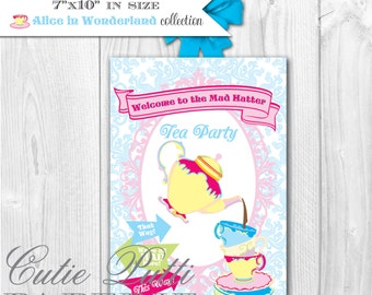 Alice in Wonderland Party, Mad Hatter Tea Party - PRINTABLE WELCOME SIGN - Cutie Putti Paperie  - Cutie Putti Paperie