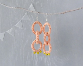 Earrings Shackle, Peach Salmon Dangle Earrings, Handmade Fashion Jewelry