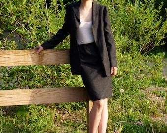 Valentino Boutique Gray Wool Designer Skirt Suit