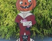 Halloween Pumpkin Head Stand-up with  Black Cat Vintage Style Halloween, Retro Halloween