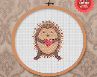 Cute hedgehog - woodland animal love - PDF cross stitch pattern