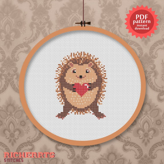 Cute hedgehog - woodland animal love - PDF cross stitch pattern