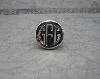 Bold Sterling Monogram Ring