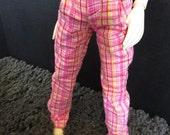 CLEARANCE MSD Pink Plaid 45cm BJD Pants