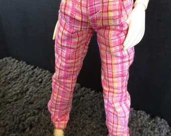 CLEARANCE MSD Pink Plaid 45cm BJD Pants