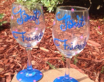 Best Friends  painted wineglass