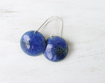 Enamel earrings blue aqua dangle round sterling silver - artisan jewelry by Alery