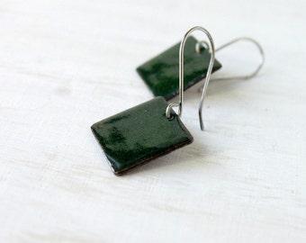 Enamel earrings dark green minimalist sterling silver - small squares - enamel jewelry by Alery