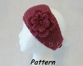 Instant Download to PDF CROCHET Pattern: Simple Tunisian Crocheted Headband with 6-Petal Flower
