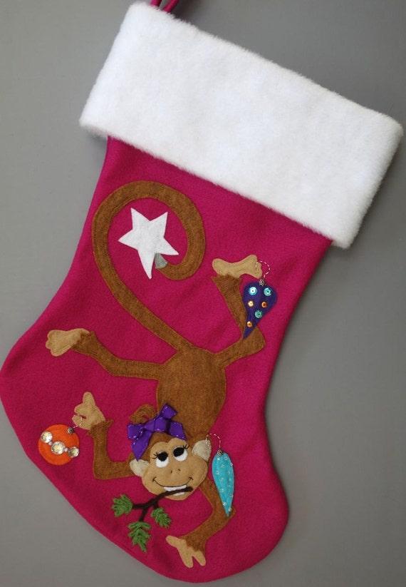 "Monkey Christmas Stocking--""Sweet Monkey Girl"""
