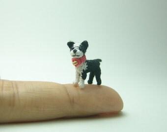 2/3 inch crochet boston terrier dog - dollhouse decor  - micro amigurumi animals