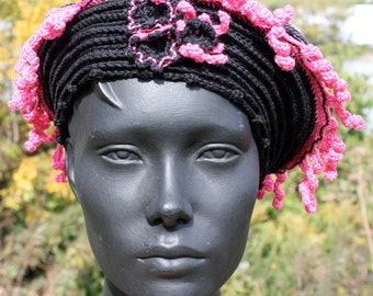 Magenta & Black Crochet Hat with Three Crochetted Flowers...
