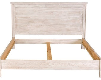 Reclaimed Style White Wash Bed Cal King King Queen Full Double Twin Headboard and Complete Bed Barnwood Style