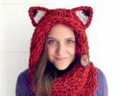 Fox Cowl Circle Scarf Hood in Chunky Cranberry Red Yarn, Reversible with two Textures and a Natural Coconut Button