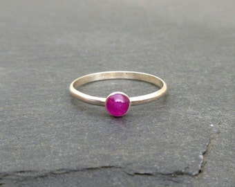 Natural Ruby Ring -  Recycled Sterling Silver Untreated Ruby Stack Ring - Stackable
