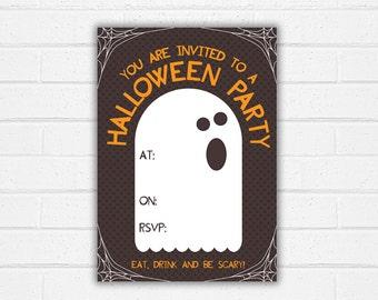 Halloween Party Invite Printable Ghost Theme Invitation