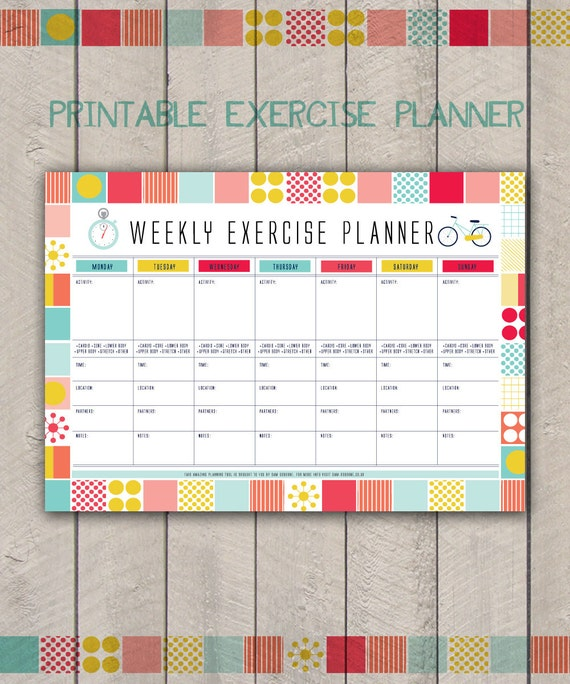 Printable Weekly Exercise Planner