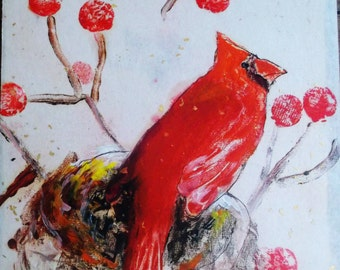 Cardinal on Nest  Oil Monoprint