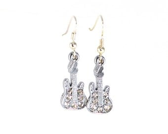 Rocking Guitar Earrings Rhinestone Charms with Silver Plated Hooks or Clip Ons
