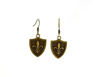 Fleur de Lis Shield Earrings in Brass Metal