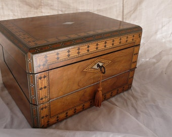 Antique Wooden Travel Case, Writing Slope, Napoleon lll, walnut and pewter, mother of pearl, ebony inlay, jewellery box, antique gift box