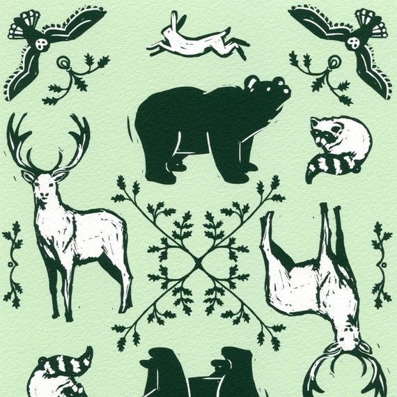 Forest Animals Giclee Print Woodcut Style Wildlife By