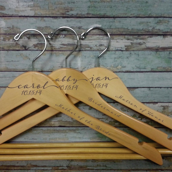Wedding dress hanger personalized engraved name in script for Personalized wedding dress hangers