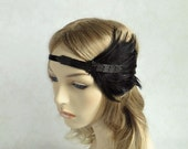Great Gatsby Headband, Black Feather Beaded Fascinator, 1920s Hair Accessories, Velvet Ribbon, Gatsby Wedding, Costume Party