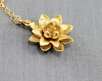 Lotus Necklace, Gold Lotus Necklace, Lotus Charm Necklace, Lotus Jewelry, Yoga Necklace, Gold Lotus Necklace, Gold Necklace, Christmas Gift