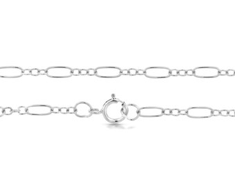 Sterling Silver 5.6x2.6mm 22 Inch Long and Short Cable Chain with clasp - 1pc (5697) Made in USA 10% discounted lowest price