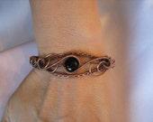 Black Onxy and Antique Copper  Bracelet /  Inner Strength