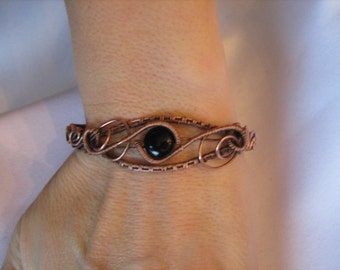 Black Onxy and Antique Copper  Bracelet /  Inner Strength