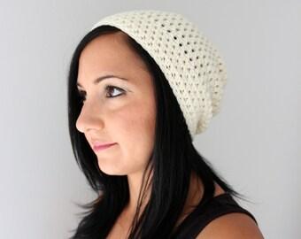 Ivory Toboggan Slouchy Beanie, Unsiex Adult Beanie Hat, Slouchy Beanie Hat, Knit Beanie, Crochet Textured Hat