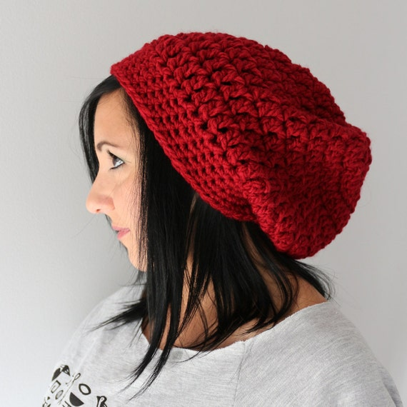 Cranberry Red Cool Slouchy hat for Men and WOmen, Crochet Winter Fashion Accessories
