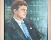 Very Large Vintage JFK Oil Portrait: Framed Painting