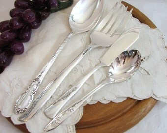 Vintage Silverware Set, Floral 4-Pc Hostess Set #7, Silverplate Mismatched Flatware, Silver Serving Set, Fine Dining, Hostess Gift