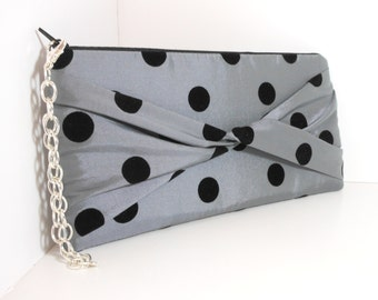 Cocktails with a TWIST Silver Shimmer with Black Polka Dots Clutch or Wristlet