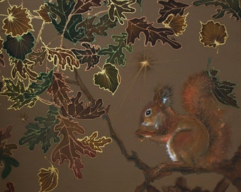 Original silk painting, wall pannel, autumn forest, squirrel, nature, wall hanging, fiber art squirrel, homelike decor, cozy