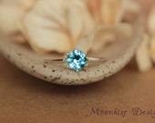 Blue Topaz Vintage-style Classic Solitaire in Sterling Silver - Elegant Blue Topaz Engagement Ring or Promise Ring -December Birthstone Ring