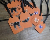 Halloween Gift Tags Set of 16 Halloween Gift Tags Spider Bat and Cat Halloween Gift Tags
