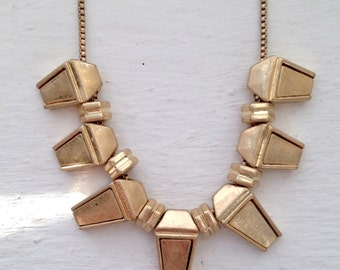 Gold stud necklace, brushed gold necklace, hardware necklace, geometric necklace, jcrew, jcrew neckace, jewelry, Brooklyn, trendy necklace
