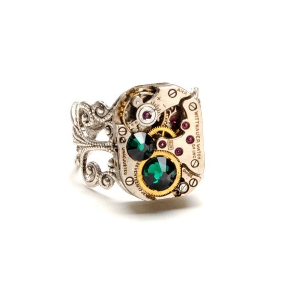 MAY EMERALD Steampunk Ring - BIRTHSTONE Steampunk Vintage Watch Ring Green Silver Ring Steam Punk Steampunk Jewelry by Victorian Curiosities