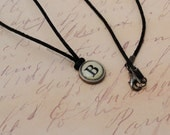 Steampunk Typewriter Key Initial Necklace Handmade Personalized Gift For Her Jewelry B